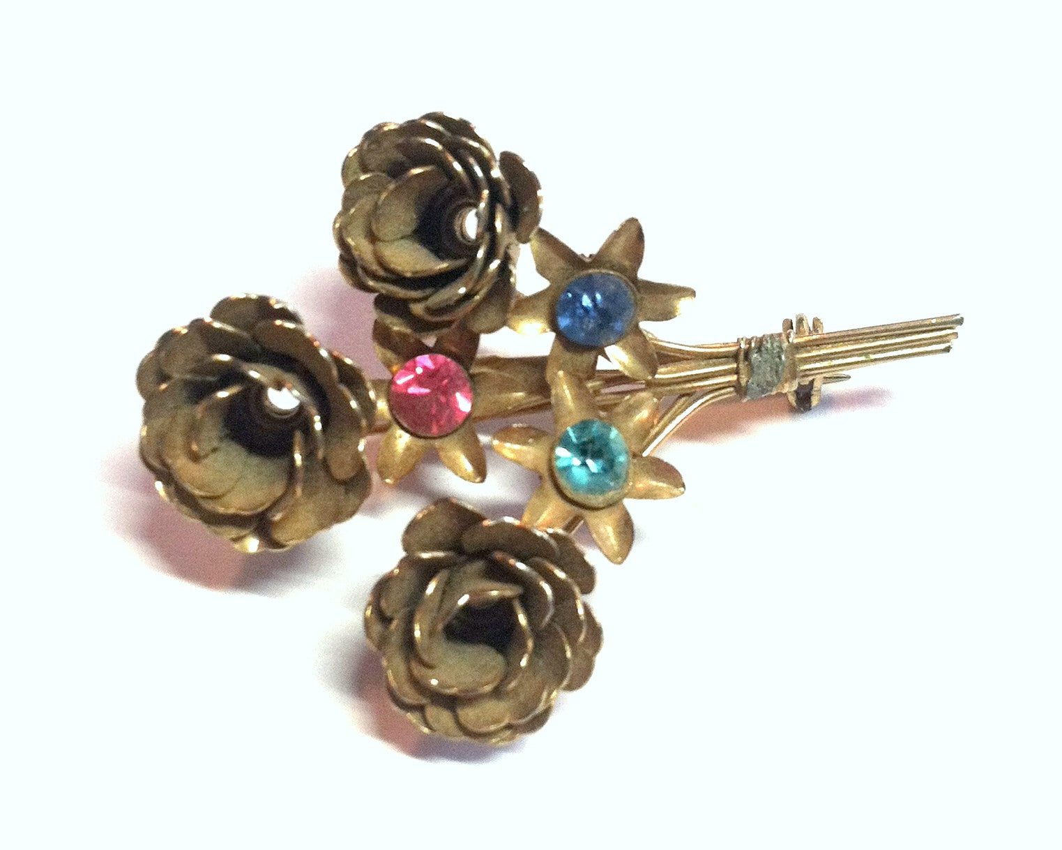 Pastel Rhinestone Dotted Flower Bouquet Brooch circa 1940s Dorothea's Closet Vintage Jewelry