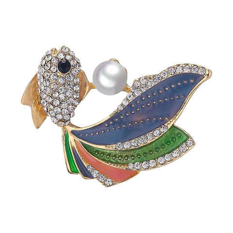 Retro Beach Collection Sparkling Fan Tailed Fish Brooch with Rhinestones & Faux Pearl