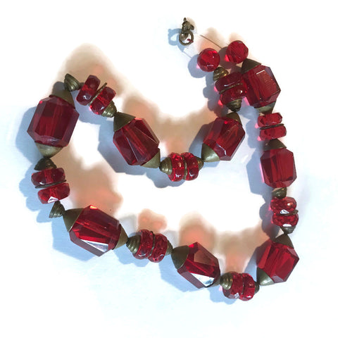 Rose Red Czech Glass Bead Necklace circa 1920s