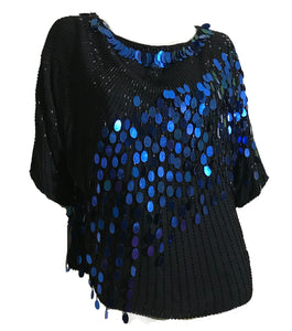 Shimmering Black and Blue Paillette Sequined and Beaded Blouse circa 1980s