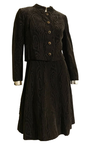 Malcolm Starr Woodgrain Brown Velvet and Sculpted Silk Bodice Dress with Matching Jacket circa 1960s