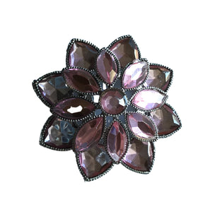 Cotton Candy Pink Sparkling Stacked Flower Rhinestone Brooch circa 1970s