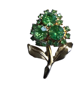 Cheery Lime Green Rhinestone Cluster Flower Brooch circa 1960s