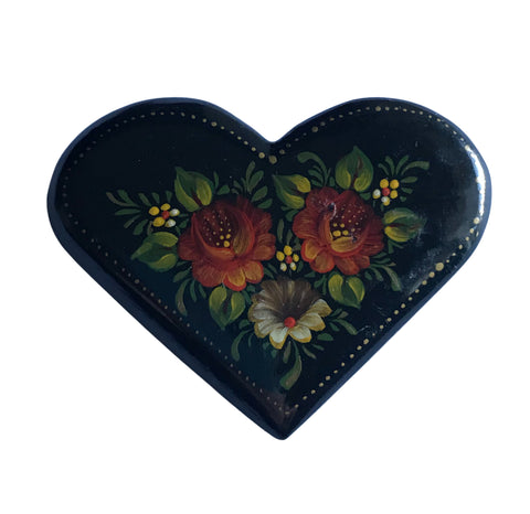 Hand Painted Psanky Style Heart Shaped Black Wooden Brooch circa 1990s