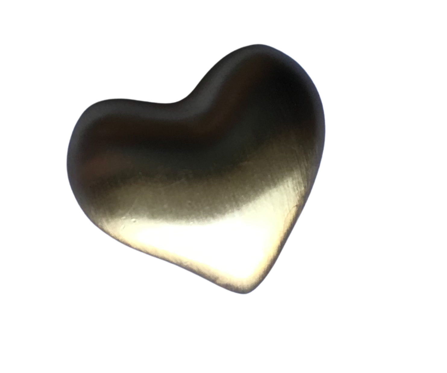 Brushed Gold Tone Metal Puffy Heart Brooch circa 1980s