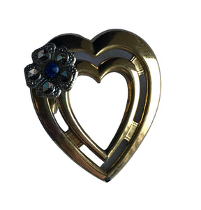 Blue and Clear Rhinestone Flower Accented Gold Tone Metal Heart Brooch circa 1950s