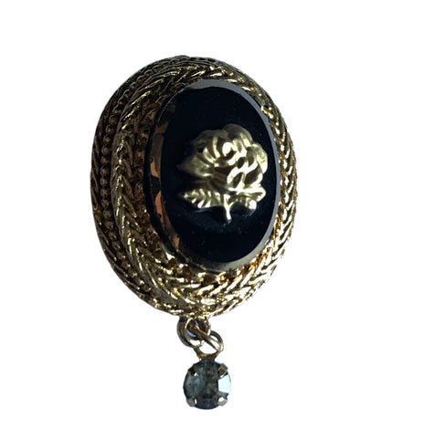 Black and Gold Oval Hooked Pendant with Rhinestone Dangle circa 1960s