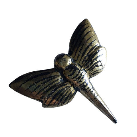 Enormous Black and Gold Wooden Dragonfly Statement Brooch circa 1970s
