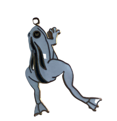 Black and White Enameled Metal Frog Pendant circa 1980s