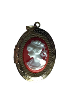 Coral and White Carved Plastic Faux Cameo Portrait Locket Pendant circa 1960s