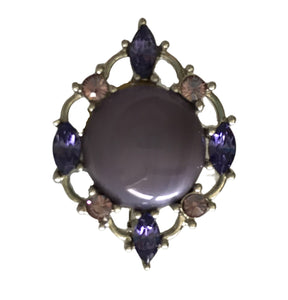 Lavender Glass and  Rhinestone Brooch circa 1970s