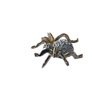 Rhinestone Studded Tiny Spider Gold Tone Lapel Pin Brooch circa 1960s