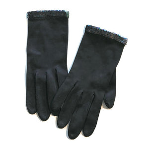 Black Wrist Length Gloves with Peacock Hued Iridescent Sequins circa 1960