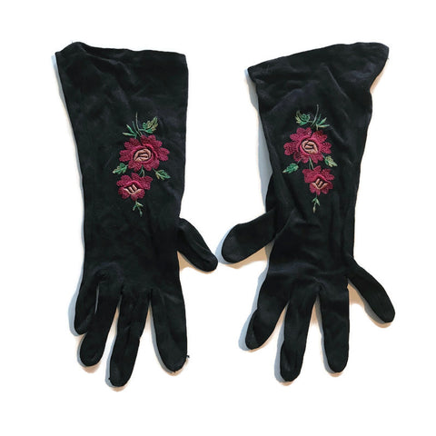 Black Rayon Blend Gloves with Magenta Floral Embroidery circa 1940