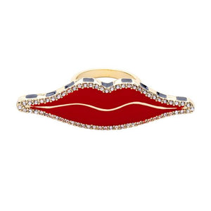 Surrealist Collection Exaggerated Red Lips with Rhinestones Double Wide Ring 7