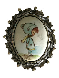 Little Girl in Winter Holly Ringed Brooch circa 1970s