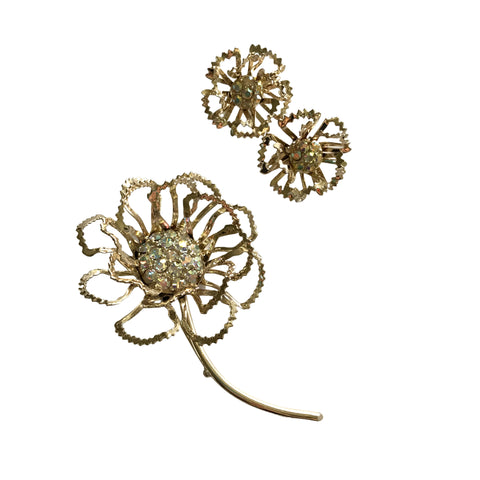 Aurora Borealis Rhinestone 3-D HUGE Flower Brooch and Clip Earrings circa 1960s