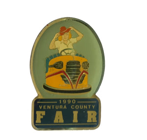 1990 Ventura County Fair Enameled Lapel Pin with 40s Style Pin Up Girl  circa 1990s