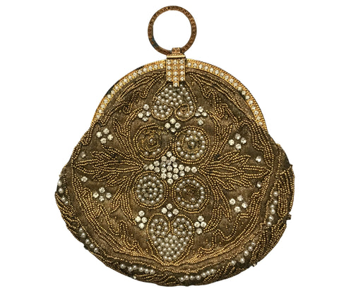 Golden Metallic Thread Embroidered and Beaded Evening Tango Bag circa 1920s