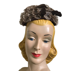 Sculpted Cocoa and White Sisal Whimsy Cap with Velvet Bow circa 1960s Lilly Daché