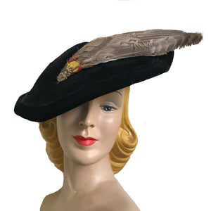 Black Velvet Curvy Platter Hat with Feather Spear circa 1940s