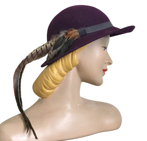 Royal Purple Felted Wool Wide Brim Hat with Pheasant Feather circa 1980s