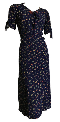 Folkloric Bright Floral Print Blue Rayon Dress with Red Celluloid Accents circa 1930s