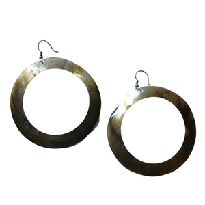 Huge Abalone Shell Circle Dangle Earrings circa 1980s