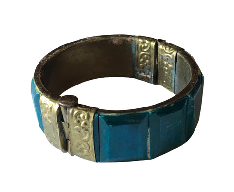 Faux Antique Teal and Gold Tone Metal Bangle Bracelet circa 1970s