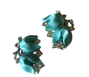 Aqua Blue Tulip Shaped Thermoset Plastic and Rhinestone Clip Earrings circa 1960s