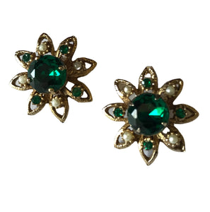 Glamorous Deep Green Rhinestone and Faux Pearl Flower Shaped Clip Earrings circa 1960s