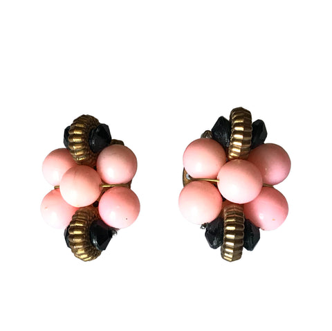 Pink and Black Art Deco Inspired Clip  Earrings circa 1940s