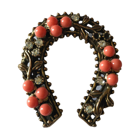 Coral Hued Beaded Horseshoe Shaped Gold Tone Metal Brooch circa 1960s