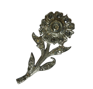 Flower on Stem Rhinestone Silver Pot Metal Brooch circa 1940s