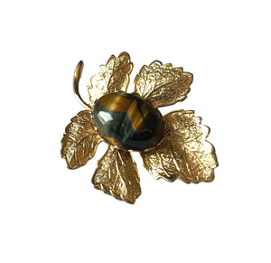 Tiger's Eye Accented Gold Tone Metal Leaf Brooch circa 1970s