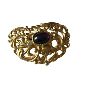 Art Nouveau Style Gold Tone Metal Brooch with Purple Cabochon circa 1980s