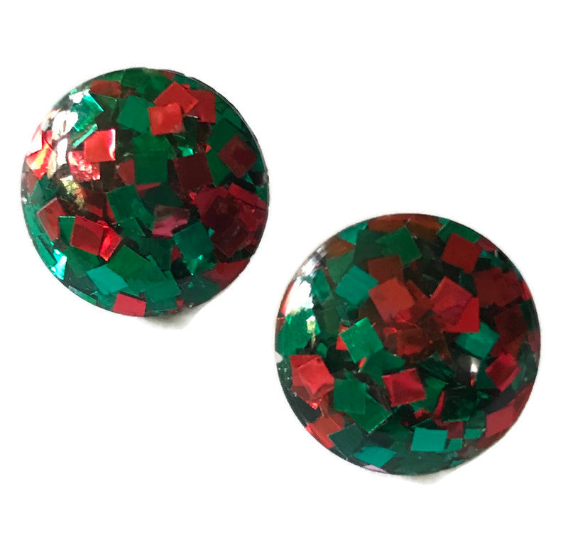 Holiday Spectacular! Red and Green Confetti Glitter Lucite Clip Earrings circa 1960s