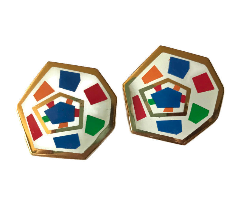 Enameled Artsy Geo Design Red White Orange and Blue Metal Clip Earrings circa 1980s