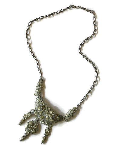 Elegant Siver Tone Metal Ribbons and Flowers Rhinestone Necklace circa 1890