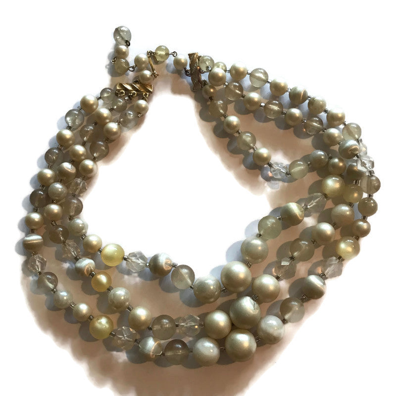 Chunky Triple Strand Crystals and Faux Pearl Beaded Necklace circa 1960s
