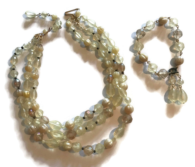 Candlelight Faux Crystal Beaded Necklace & Bracelet Demi Parure circa 1960s