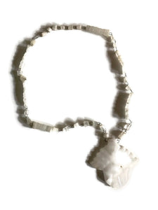 Mexican Carved Stone White Large Pendant Necklace circa 1990s