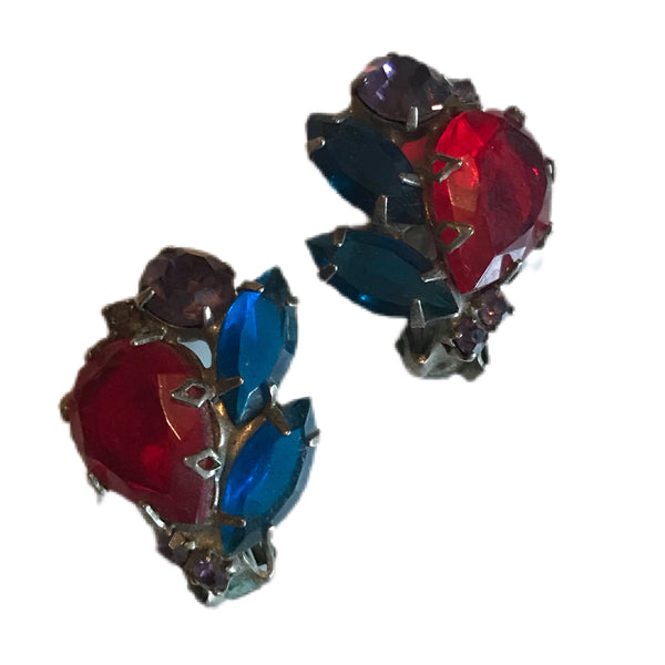 Red, Purple and Blue Crystal Cluster Clip Earrings circa 1940s