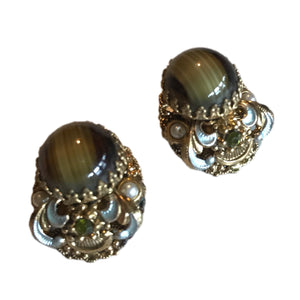 Striated Olive Green Glass Cabochon Clip Earrings with Beads and Rhinestones circa 1960s