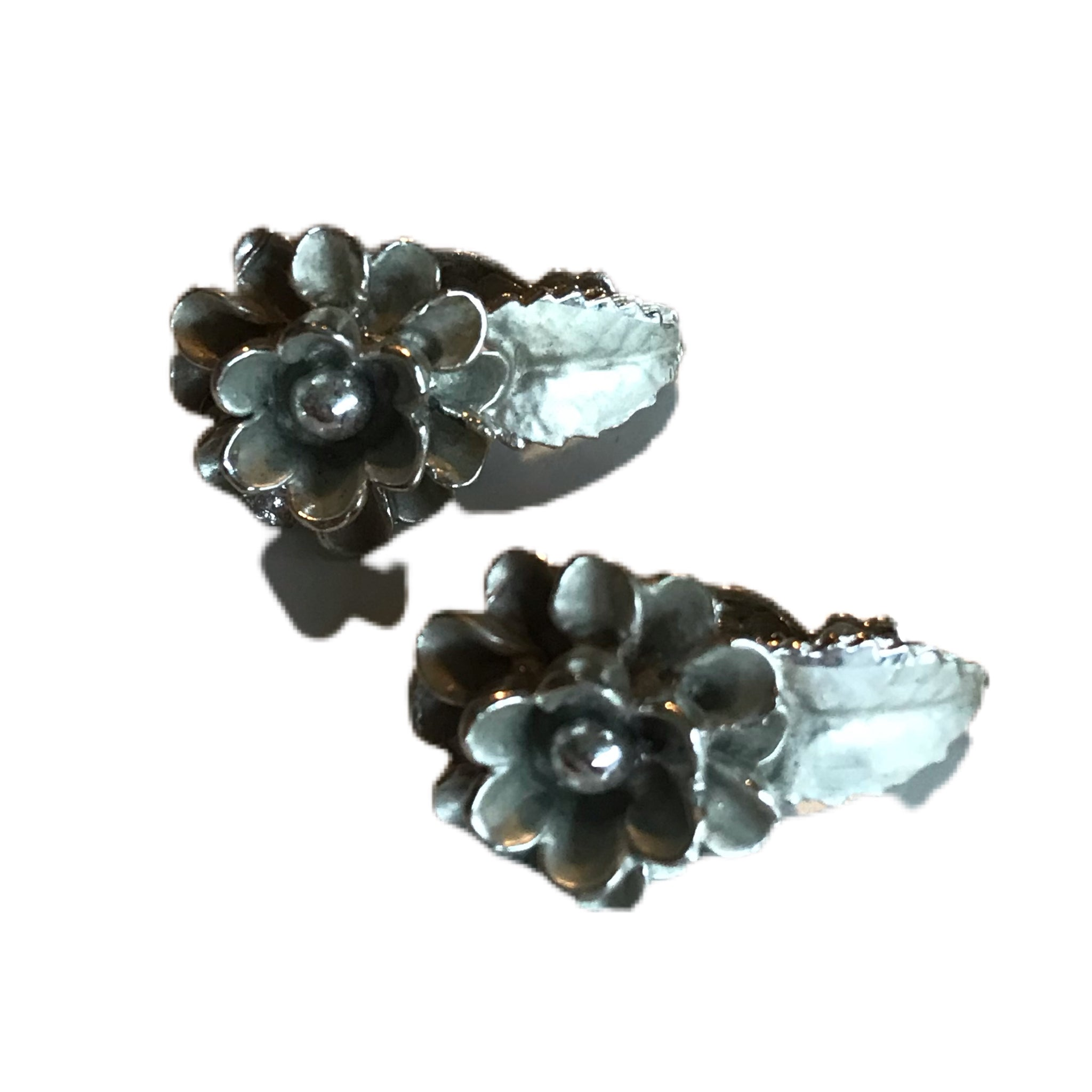 Silver Tone Flower Shaped Clip Earrings circa 1950s