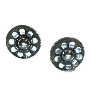 Silver Tone Flower Circle Screw Back Clip Earrings circa 1950s
