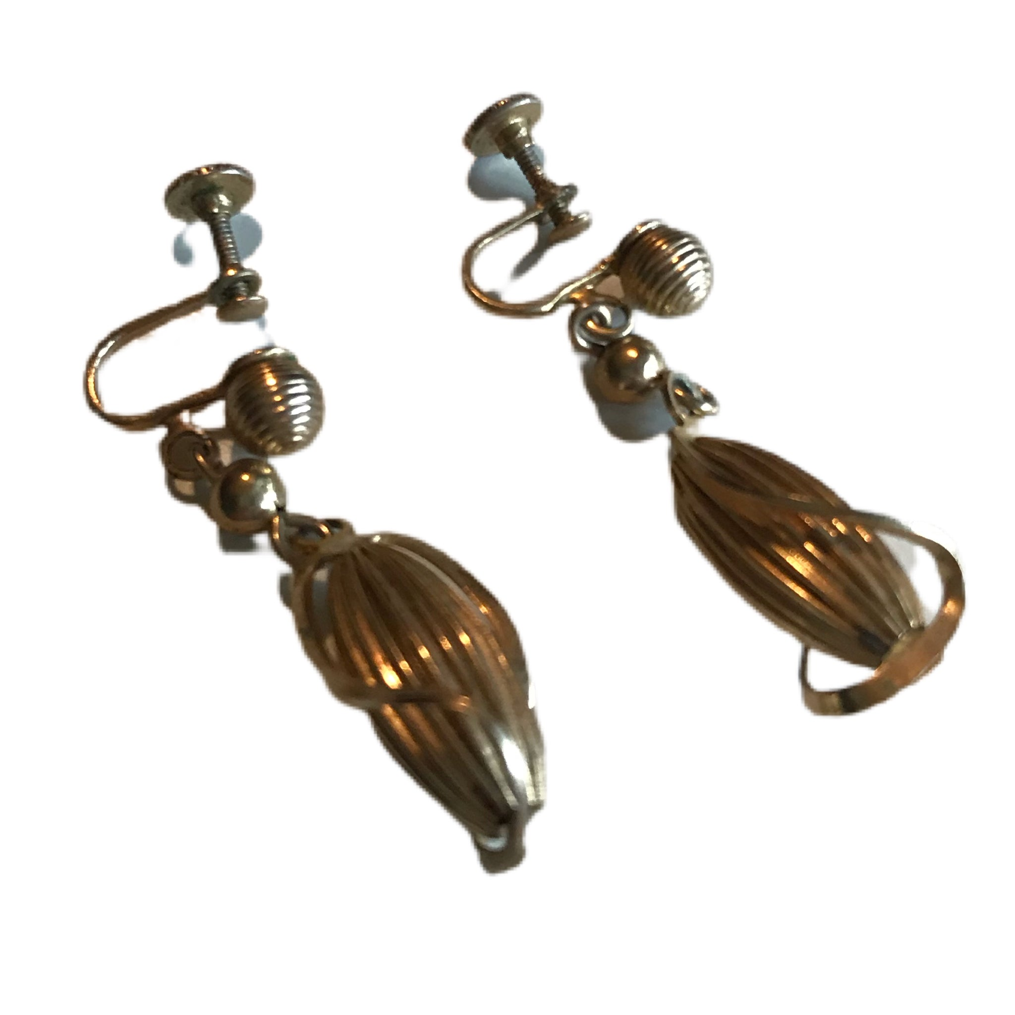 Gold Tone Oblong Caged Dangles Screw Back Clip Earrings circa 1940s