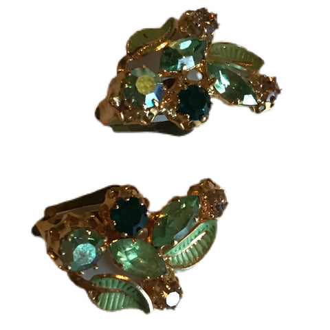 Lime and Celadon Green Rhinestone and Crystal Clip Earrings circa 1960s