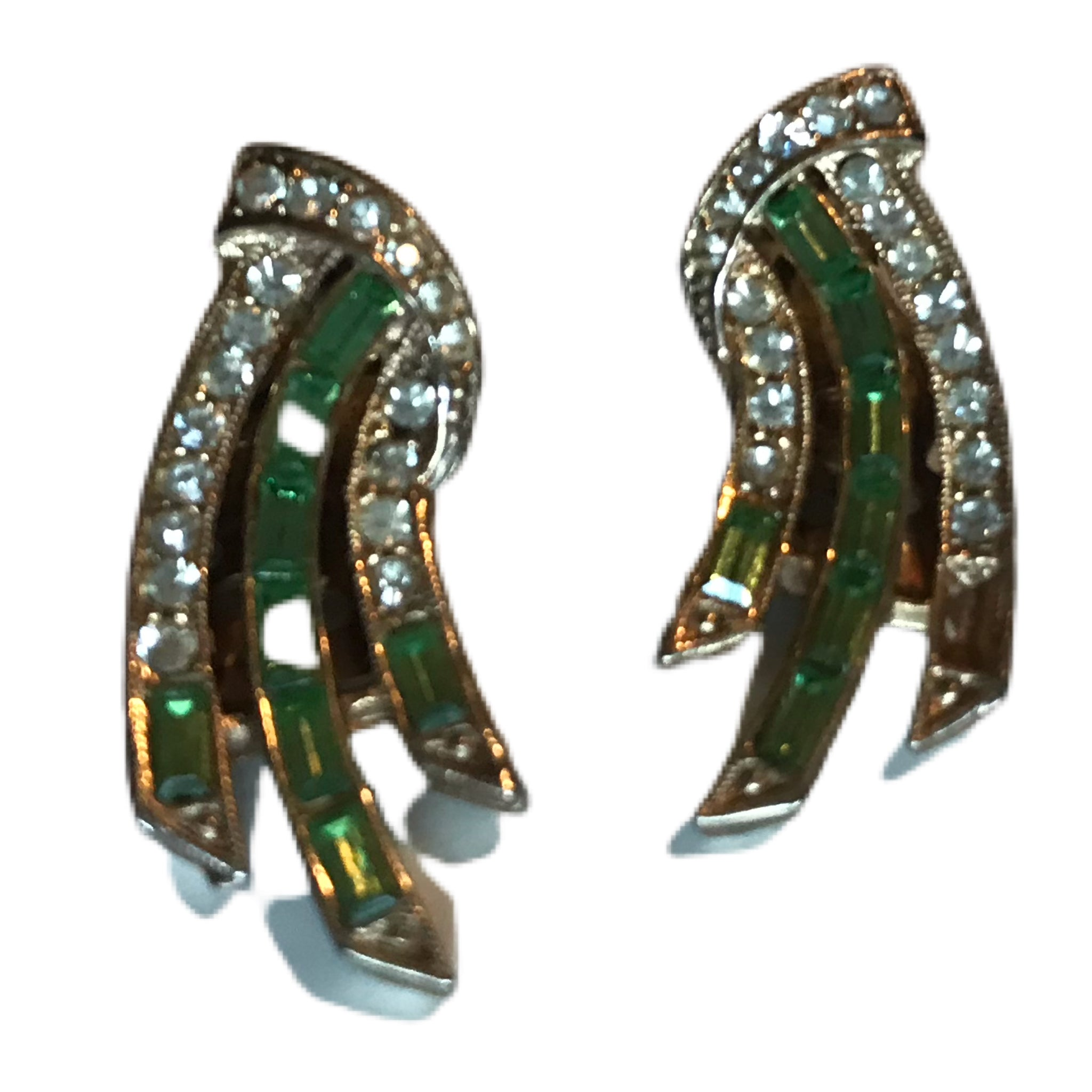 Citrine Green Bezel Set Rhinestone and Crystal Clip Earrings circa 1960s