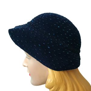 Night Sky Blue Bugle Beaded Asymetrical Cap Hat circa 1930s